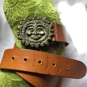 Limited Beautiful Sun face brown leather belt.